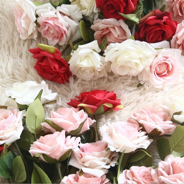 1 bunch fake Roses Valentine's Day present vases for home decoration accessories wedding decorative cheap Artificial flowers