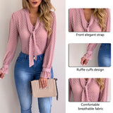 Women New Fashion Elegant Chiffon Blouses Long Sleeve V-Neck Shirt Office Blouse Slim Casual Female Polka Dot Top