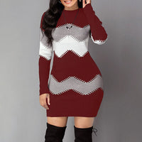 Umeko Autumn and Winter Long Striped Long-sleeved Sweater Long Multi-color Slim-fit Sweater New Fashion Knitted Long Multi-color