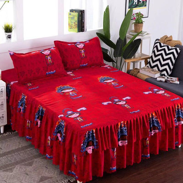 2019 New 4 size Full / queen / king Chinese wedding classic bed linen cotton Oriental bride wedding bed linen 2019 new bed skirt