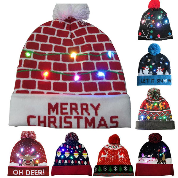 Christmas Hats Beanie Sweater LED Light Knit Hat Christmas Decorations For Home Santa Elk Hat Light Up Knitted Hat Gift For Kids