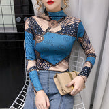 Autumn and winter new fashion printed half high collar T-shirt for women from Europe