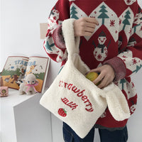 Harajuku Cute Plush Embroidery Women's Handbags High-Quality Female Clutch Purse Solid Color Ladies Bag Tote Chiristmas Gift Bag