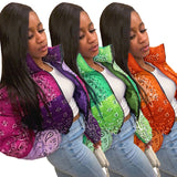 Bandana Coat Paisley Printed Bubble Jackets For Women 2020 Winter Fashion Warm Parkas Casual Zipper Up Puffer Outerwear S-XL
