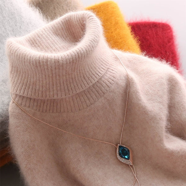 100% Mink Cashmere turtleneck sweater women jumper 2020 autumn winter warm clothes pull femme hiver pullover sweater