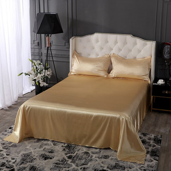 100% Satin Silk Beedsheet White 1 Piece Flat Sheet Silky Queen King Bed Sheets Bedroom Sheets