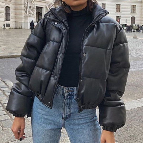 Black Jackets Women Winter Parka Coat 2020 Female Thick Warm PU Leather Jacket Coats Zipper Puffer Jacket Outerwear With Pants