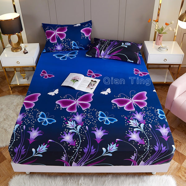 (New On Product)1pcs 100%Polyester Printed Fitted Sheet Mattress Cover Four Corners With Elastic Band Bed Sheet(no pillowcases)