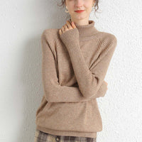Merino Wool Cashmere Sweater Women Turtleneck Long Sleeves Autumn Winter Sweater Women's Knitting Jumper Female Pullover Sweater