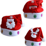 1pcs Hot Santa LED Light Up Flashing Costume Party Red Hat Cap Kids Child Christmas Xmas Party Cute Cap New Year Gifts Decor