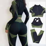 Fitness Suits Yoga Women Outfits 3pcs Sets Long Sleeve Shirt+Sport Bra+Seamless Leggings Workout Running Clothing Gym Wear,LF051