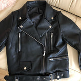 Ailegogo New Women Spring Autumn Black Faux Leather Jackets Zipper Basic Coat Turn-down Collar Motor Biker Jacket With Belt