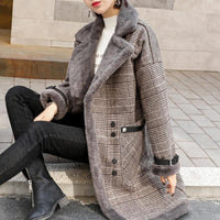 YOCALOR Plaid Faux Leather Fur Parka Coat Women Jacket Women's New 2020 Autumn Winter Lamb Fur Female Overcoat Outerwear Coats