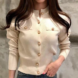 Korean Button Tops Single-Breasted Sweaters Cardigans Thin Coat Autumn Fashion Slim Long Sleeve Womens Sweater Knitted Clothes