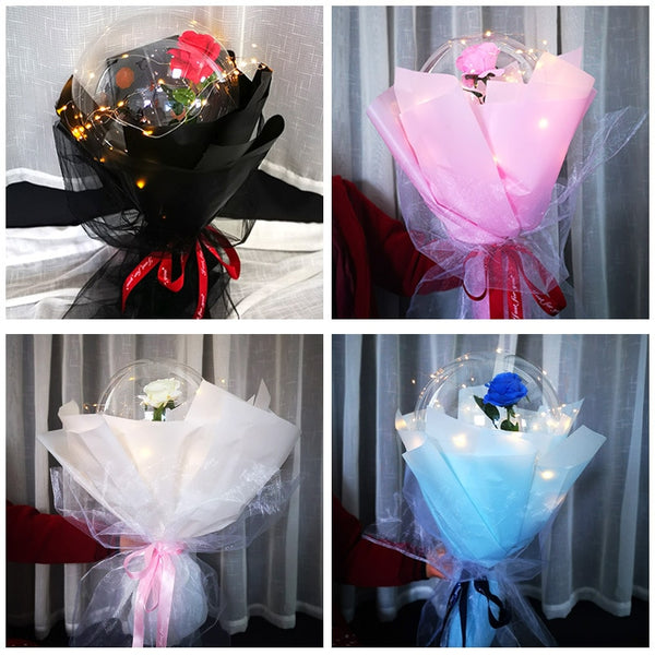 Creative Rose Flower Set Big Balloon Confession Valentine's Day Gift Romantic Bright Rose Bouquet Party Gift Gifts for Couples