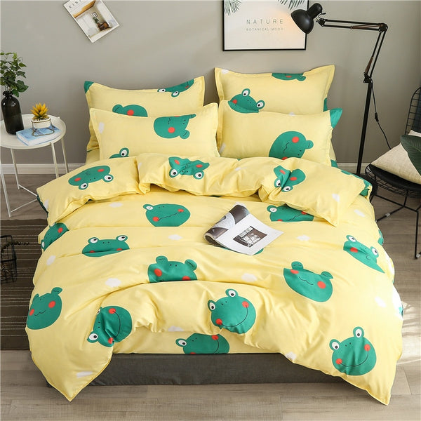Cartoon Bedding Set Kids Room Home Decor Small Frogs Bed Linens Set Pillowcase Flat Bed Sheet Twin Queen Bed Duvet Cover Set