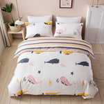 100% cotton Quilt-Cover Pillow-Case Bedding-Texture No-Bed-Sheet Cute Cartoon Blue whale 3-Piece-Set Bedroom beding Sets
