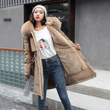 2020 New Cotton Liner Parker Parka Fashion Adjustable Waist Fur Collar Winter Jacket Women Medium Long Hooded Parka Coat