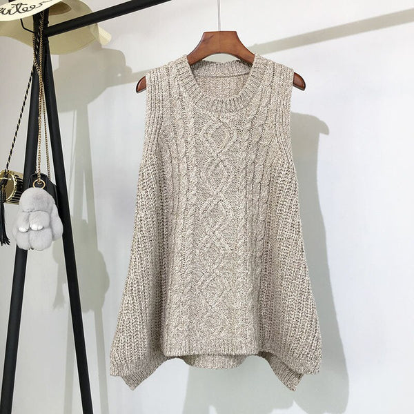 Autumn And Winter Clothing Thick Wool Vest Female Knitted Vest Loose Large Size Round Neck In The Long Section Of The Wild Vest
