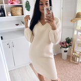 HLBCBG V Neck Long Sleeve Sweater Dress Women Autumn Winter Loose Tunic Knitted Casual Clothes Above Knee Mini Solid Dresses