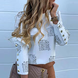 Fashion OL Women Blouses Metal Button Long Sleeve Shirts Ladies Casual O-Neck Solid Print Top Plus Size XXXL Spring Fall Clothes