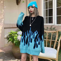 Pull Femme 2020 Winter Autumn New Loose Long Blue Flame Sweater Women O-Neck Plus Size Blue Female Pullover Women's Sweater