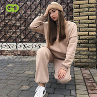 Women's Tracksuit Suit Sets Casual Plus Size Pullovers Pants Two Piece Set Women Sportswear Clothing Chandal Mujer Invierno 2020
