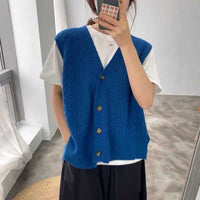 2020 Knitted Vest Woman Simple All-match V-neck Knitted Sweater Leisure Student Sleeveless Female Vintage Sweater Waistcoat