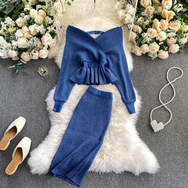 SINGRAIN Autumn Women Shiny Knitting Skirts Sets Lurex Ruffles Long Sleeves Wool Warm Sweater knitted Two Pieces Set Women