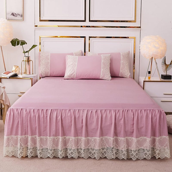 Pink rufflers korean Lace bed skirt mattress cover bed set elastic bed cover bed sheets pillowcase Multiple sizes available