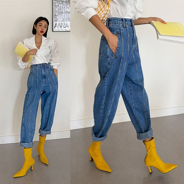 High Waist Jeans Women Harem Pants Korean Style Outfits Casual High Street Denim Trousers Pantalon Femme Vintage Jeans