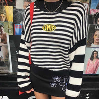 2018 Harajuku Striped Shirt Cotton Pullover Cute High Street Women Sweaters and Pullovers Long Sweater