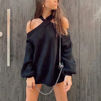 Oversize women cross halter sweaters 2020 spring fashion ladies elegant knitted pullovers female knitwear soft girls chic tops