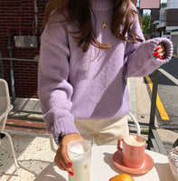 New blue Winter Sweater Women Pullover Girls Tops Vintage Purple Autumn Elegant Female Knitted Outerwear Warm Sweater Oversize