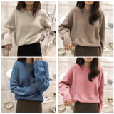 Colorfaith New 2020 Autumn Winter Women's Sweaters Pullovers Warm Minimalist Korean Oversize Pink Solid Lady Jumpers SW1119JX