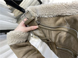 2020 new women's wear thick warm winter retro suede lambs wool motorcycle jacket belt leisure loose man-made leather jackets