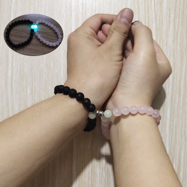 2pcs/Set Glowing Magnet Couple Bracelet Vintage Natural Stone Distance Paired Bracelet Lovers Jewelry Valentine's Day Gift