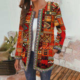 Ethnic Printed Cardigan Thin Coats Women's Jackets New Casual Long Sleeve Blusas Coat Plus Size Vintage Ladies Coat Tops