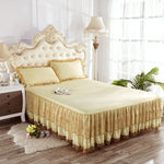 INS Nordic Polyester Cotton Solid Color Bed Skirt Single Double Cover Princess Style Lace Lotus Leaf Non-Slip Sheet Pillowcase