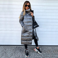 Winter Coat 2021 Women Double Sided Long Jacket Winter Turtleneck Warm Parka Lady Thin Double Breasted Outwear Puffer Jacket D25