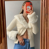 WannaThis Knitted Cardigans Sweater Women Long Sleeve Hairy Winter Tops Slim Casual Cotton Streetwear Sweater Button Top Soft
