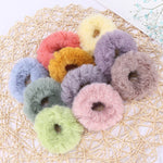 10Pcs Candy Color Fluffy Elastic Hair Ring Rope Present For Womens Girl Hair Bands Decorative Accessories Christmas Small Gifts