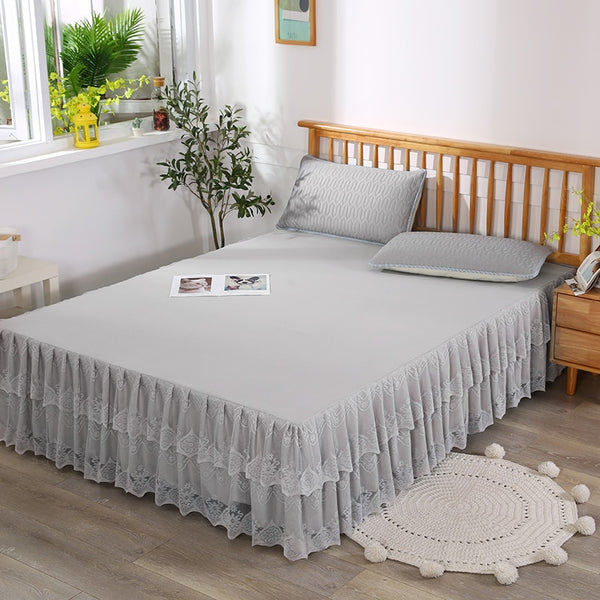 1 pc Gray Bed Sheet Non-slip Lace Bed Fitted Sheets Queen King Double Size Solid Color Bed Skirt