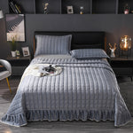 Gray Green Blue Red Solid Color Crystal Velvet Fleece Quilted Ruffle Bedspread Coverlet Bed Cover Set Bed Skirt/Sheet Pillowcase