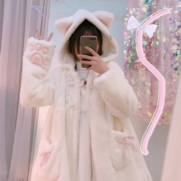 Winter Jacket Women Lolita Fleece-lined Thickened Girl Soft Fabric Kawaii Cat Ear Hat Claw Cute Plush White Coat Youthful Parka