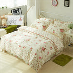 Chic Vintage Floral Duvet Cover with Ruffles Bed Sheet Set Elegant Princess Girls 100%Cotton Soft Twin Queen King Bedding sets