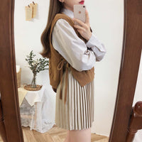 side cut New loose sleeveless sweater spring autumn Women's vest knitted vest v neck joker Vintage knitted vest wool vest