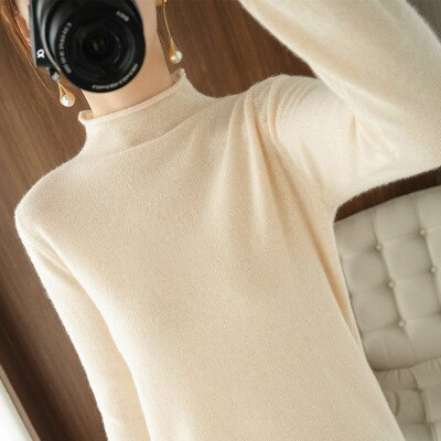2020 Autumn Winter Soft Stretch Women's Sweaters Thick Turtleneck Pullover Loose Elastic Pile Neck Women's Warm Knitted Sweaters