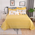 100% Cotton Yellow Leaves Flat Sheet For Children Adults Single Double Bed Flat Bedsheets (No Pillowcase) XF727-3