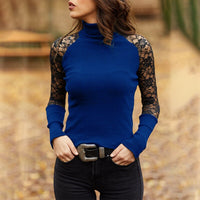 Spring and Autumn Women Knitted Turtleneck Sweater Casual Soft O-neck Jumper Fashion Slim Lace Hollow Out Long Sleeves Clothes
